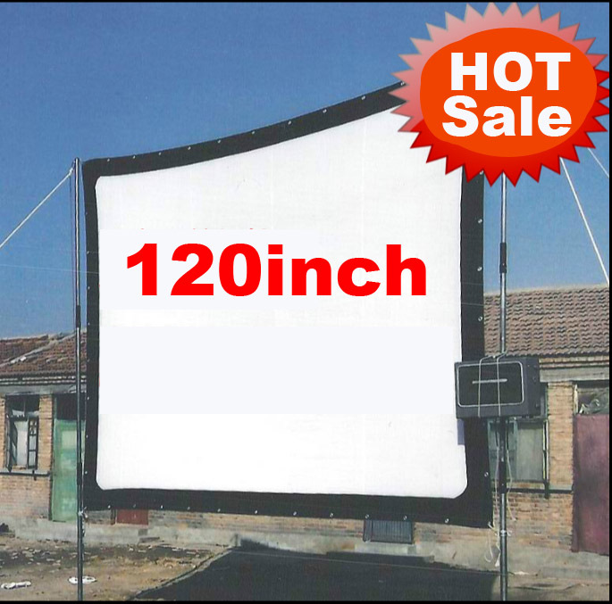 Cheaper 120inch 16 9 Without frame can be fold Portable canvas fabric screen for HD led