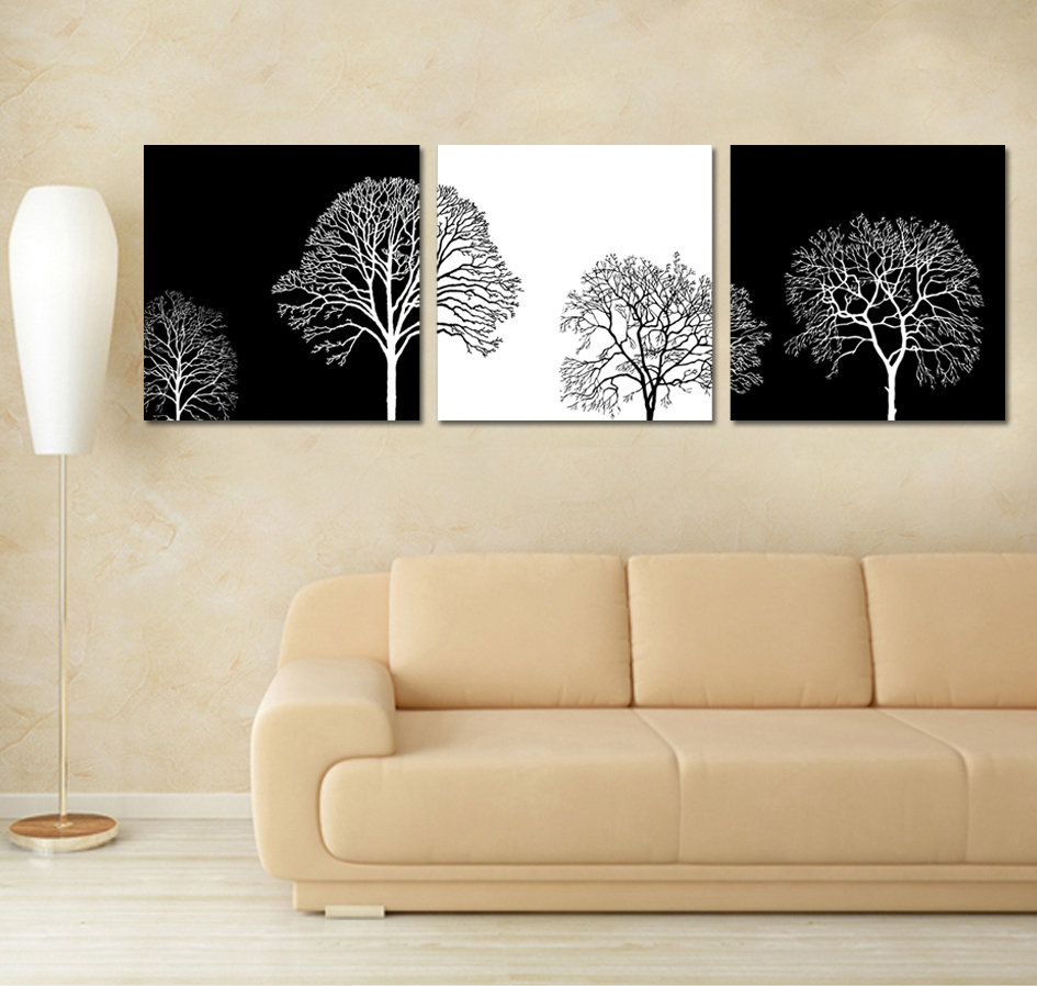 3 Piece Wall Art Printed Paintings Living Room Black And