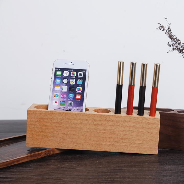 Wooden Creative Computer Desktop Office Pen Container Mobile Holder Sundries Storage Box Desk Organizer Display Decor 2