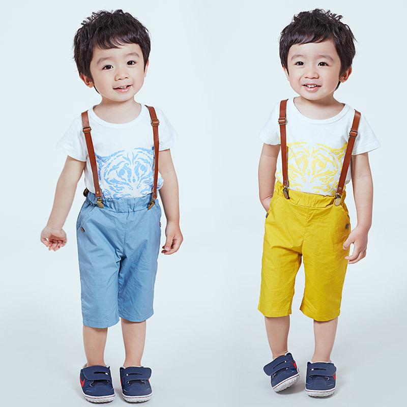 TZ0025 2017 summer new Korean children s children tiger strap Boys Shorts Overalls Set