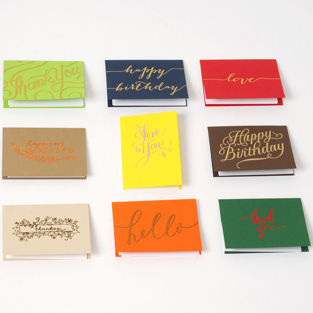 Creative Small Business Greeting Cards All Purpose Hot Stamping Gold Birthday Love Thank You Mini