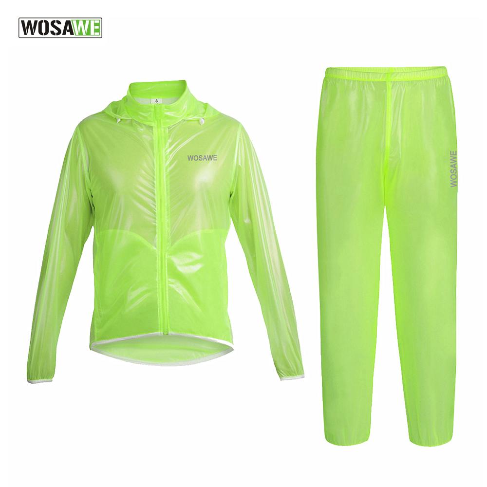 WOSAWE Cycling Rain Jackets With Hood TPU Ultralight Waterproof Bike Bicycle Raincoat Suit Sports Suit Wind Coat Clothing