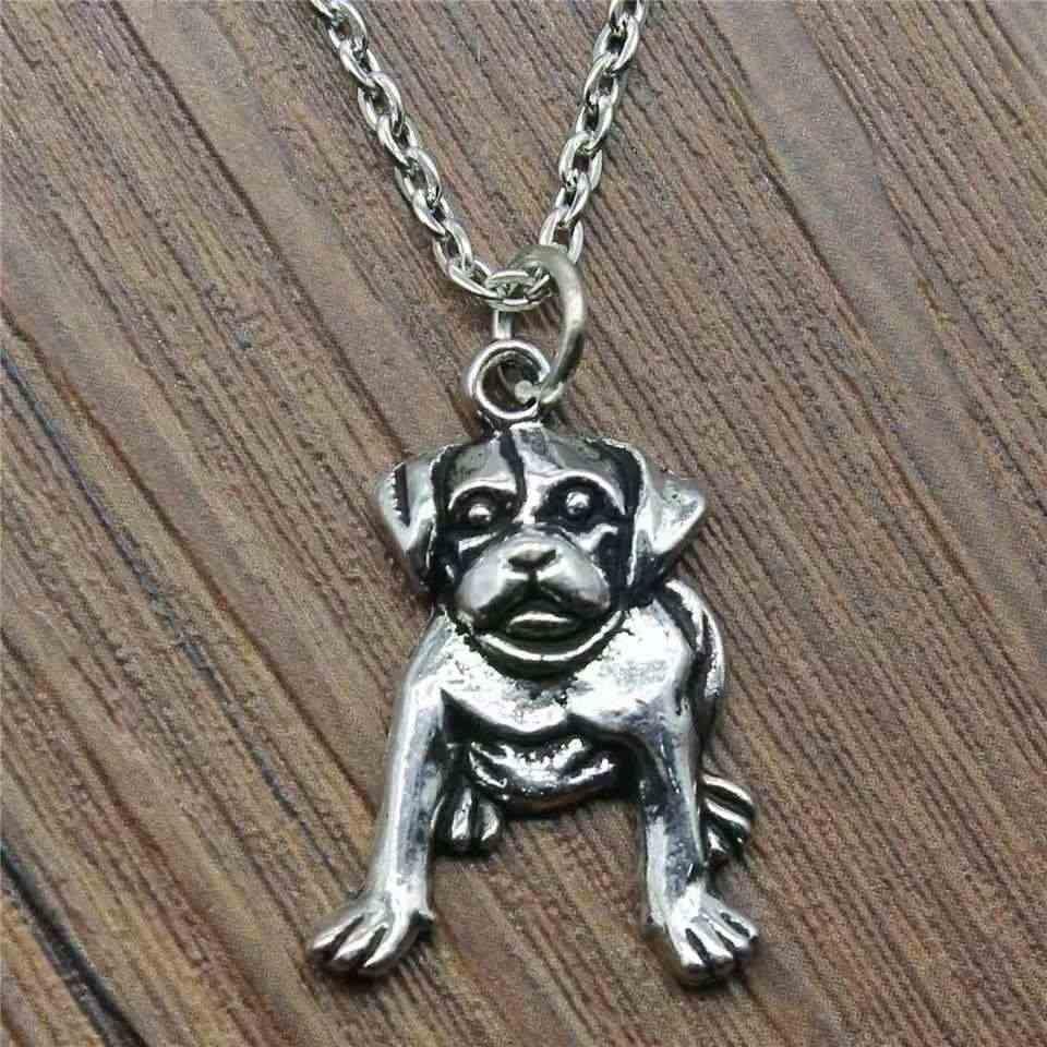 Drop Shipping โบราณ Bulldog สุนัขจี้สร้อยคอแฟชั่นเครื่องประดับ Charms Chain Choker ผู้หญิงผู้ชายของขวัญ