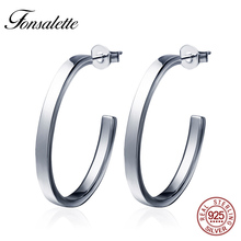2018 Fashion Sterling Silver Women Circle Earrings Simple Big Round Hoop Earrings Zircon Loop Earring Brincos Jewelry Gift ZK30 dreamcarnival 1989 2 row thin stones zircon big circle round hoops sterling silver 925 jewelry timeless wedding earring se14743r