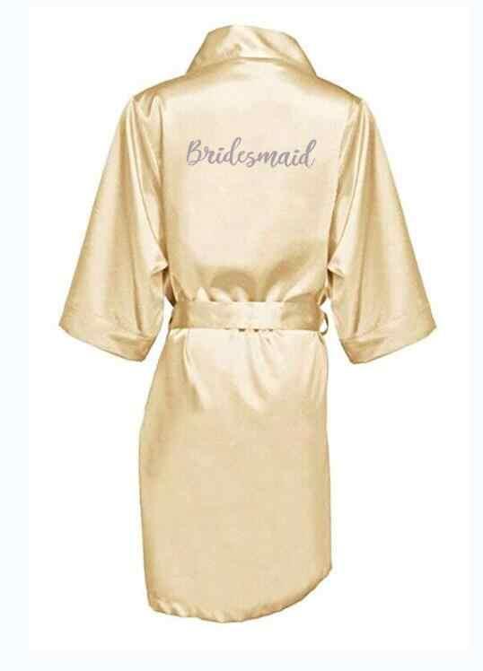 シャンパンゴールドとシルバーグレー書き込みブライダルシャワーパーティーの母新郎ローブ花嫁女性岬サテンローブ