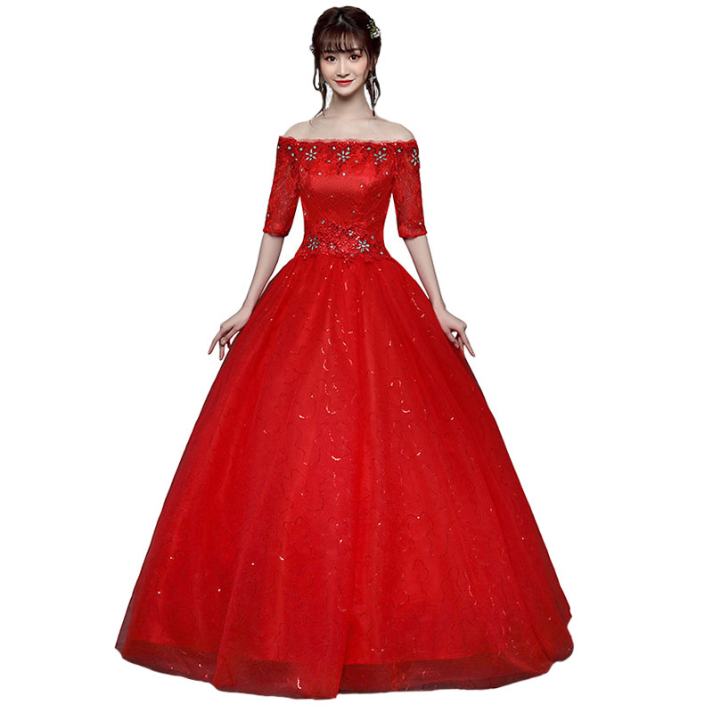 One Word Collar Lace Wedding Gowns Hot Drilling Red Wedding Dresses Big Yards Bridal Wedding Dress Real Photo