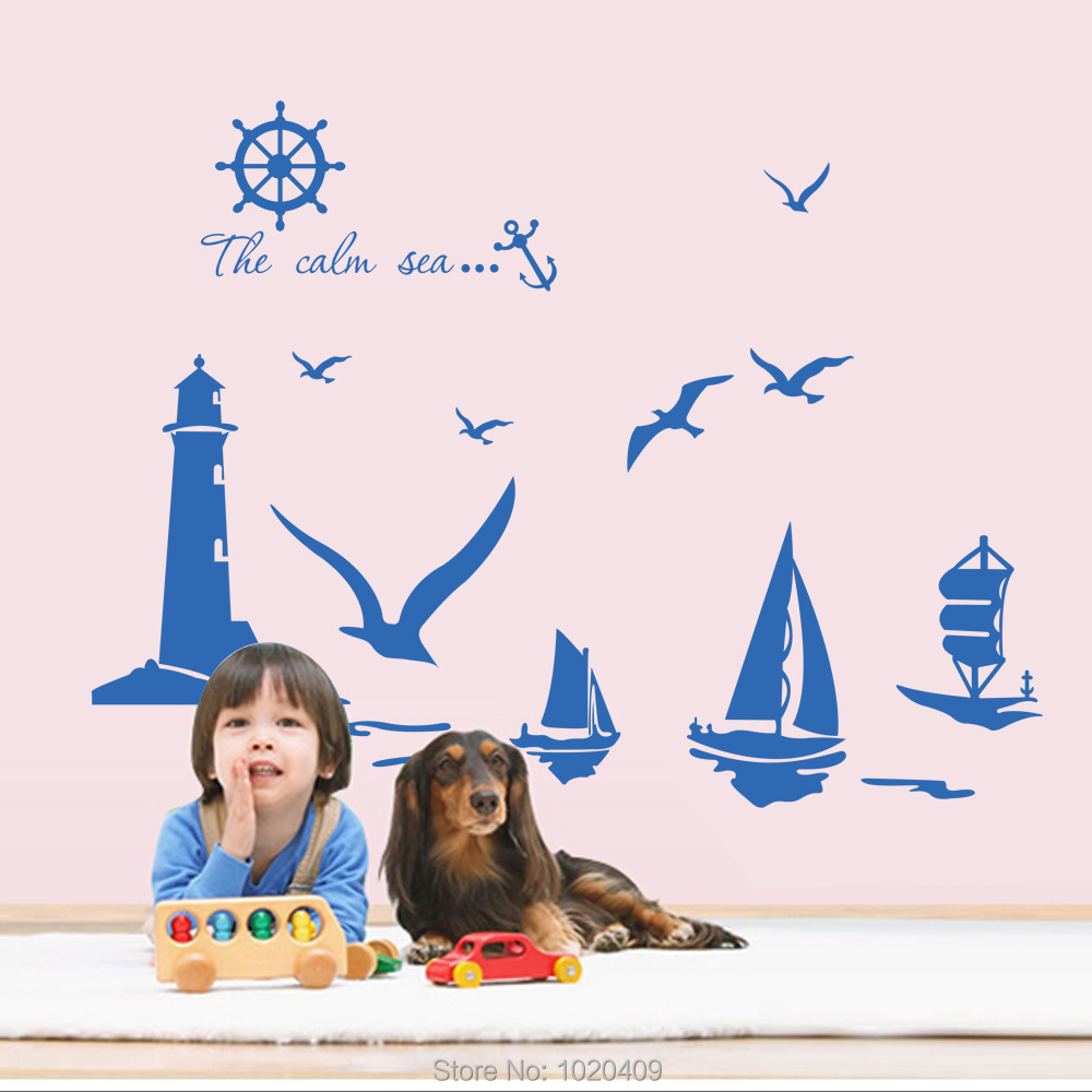 Exclusive Direct wall sticker Home Furnishing decorative Seagulls sailing lighthouse sea Letter PVC wallpaper children room 9204