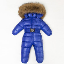 Baby Snowsuit 2017 winter younger boys play garments with Genuine Raccoon Fur Collar hood child women snow fits thermal put on