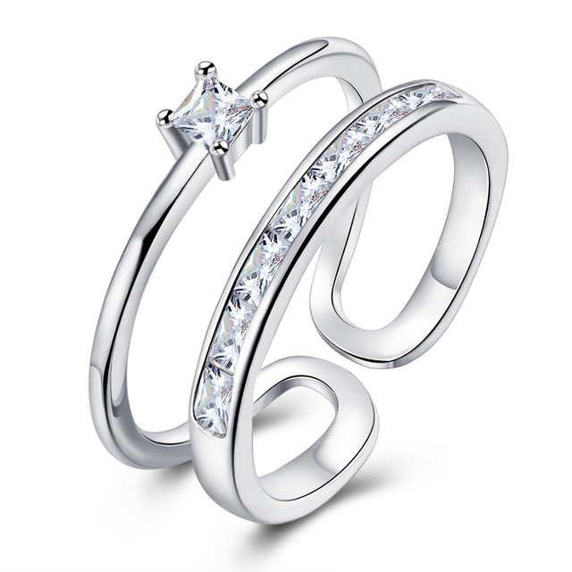 Lovely Ladies 2 Layers Ring Silver Plated Open Rings For Women With Top Quality
