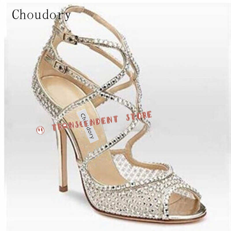 Choudory High Heel Summer Women Shoes Luxury Genuine Leather Women Sandals Solid Buckle Strap Crystal Fashion Pumps For Party