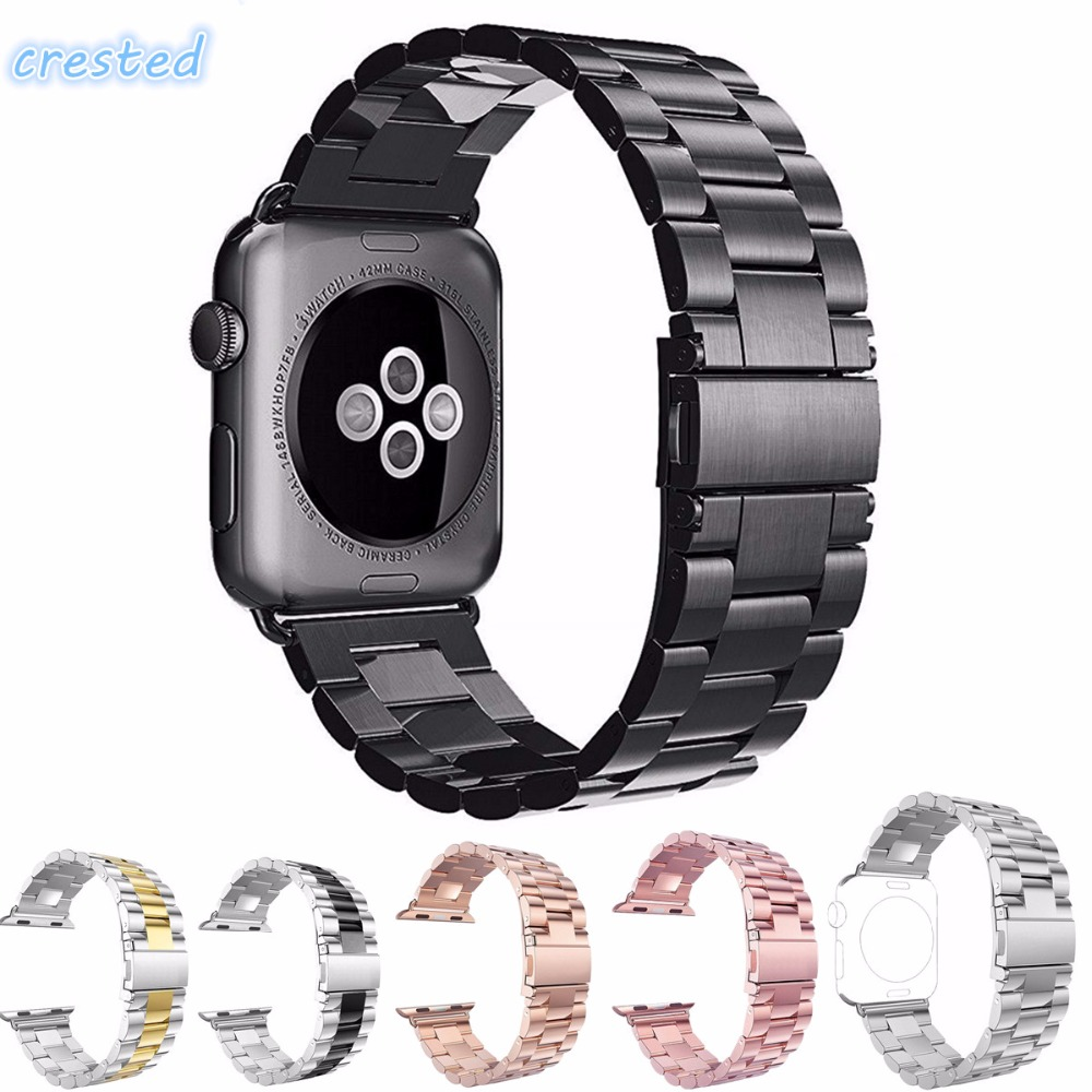 CRESTED Stainless Steel Watch band Strap for apple watch 42 mm 38 mm link bracelet Replacement Watchband for iwatch serise 1 2 crested stainless steel watch band for fitbit charge 2 bracelet smart watch strap for fitbit charge2 with connector