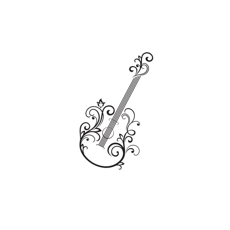 Floral Guitar Wall Stickers <font><b>Creative</b></font> <font><b>Home</b></font> <font><b>Decor</b></font> Modern Removable Wall Decals Vinyl Art Stickers Wholesale