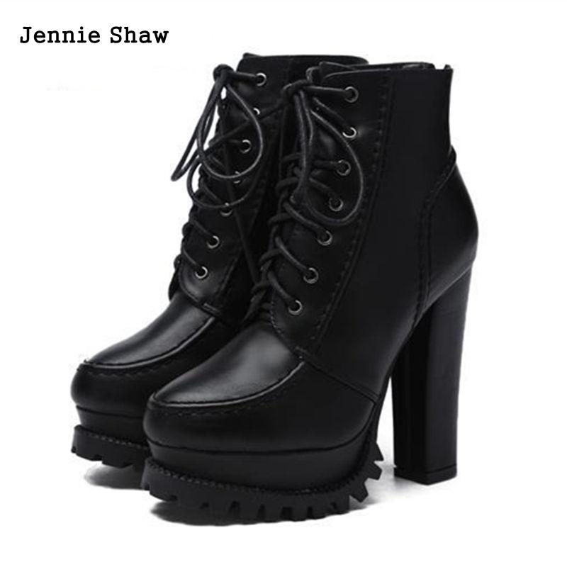 13cm Women's Boots Winter Block High Heel Shoes Round Head Laces Up Dress Ankle Boots цены онлайн