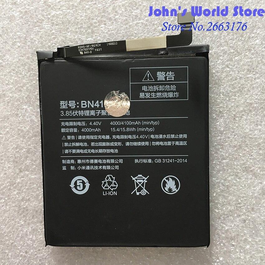 For Xiaomi BN41 4100mAh Hongmi Note 4 Battery for Xiaomi Redrice Redmi Note4 Battery Batterie Bateria Accumulator Smart Phone