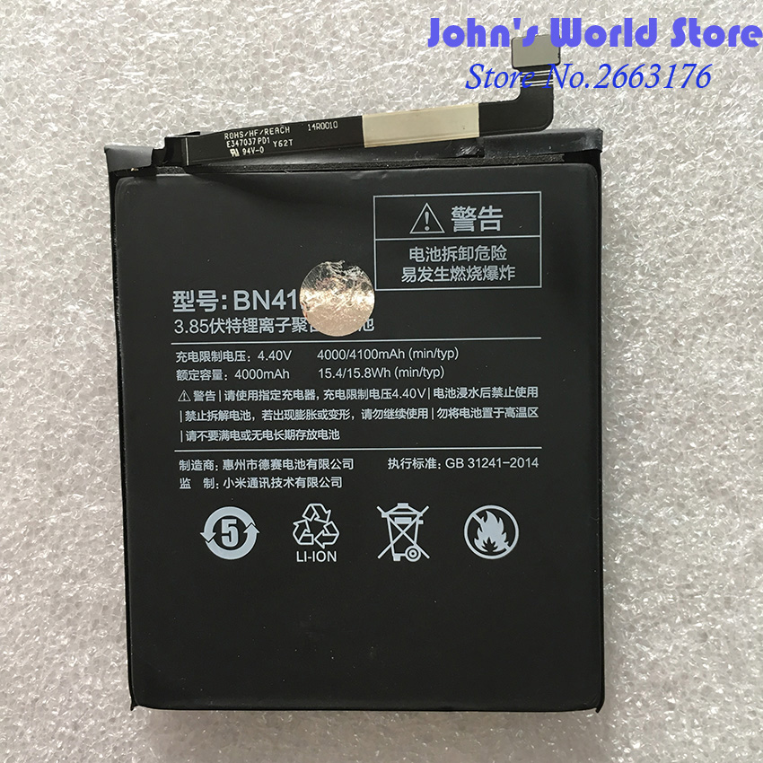 For Xiaomi BN41 4100mAh Hongmi Note 4 Battery for Xiaomi Redrice Redmi Note4 Battery Batterie Bateria Accumulator Smart Phone