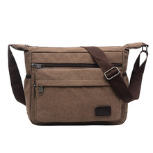 Canvas Shoulder Bags for Men Retro Solid Colors Messenger Strong Fabric Vintage Style Crossbody multifunction Brief