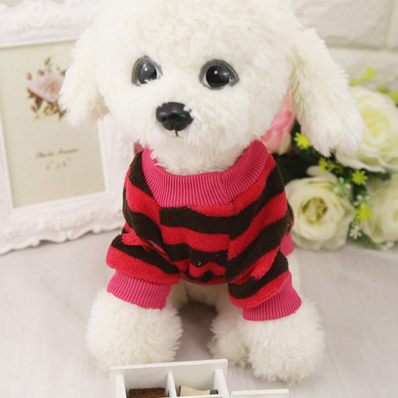 Autumn Stripe Heart Small Flower Coral Fleece Small Sweaters Teddy Costomes Lovely Dog Clothes Pet  Costumes