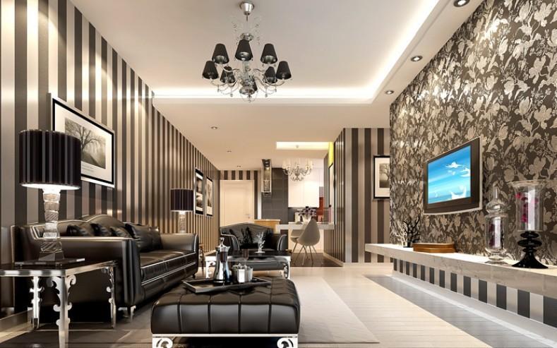 New Modern Black Wallpaper Striped Purple And Silver Glitter Wall