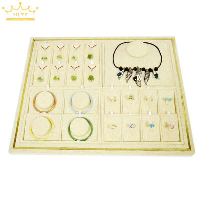 Newest 40*50CM High-grade Linen Necklace Display Tray Jewelry Stand Organizer Show Case Ring Pendant Organizer Showcases newest 40 50cm high grade linen rings display tray jewelry stand organizer ring holder show case