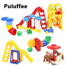 Amusement Park Big Building Blocks Compatible with Duploe Brick Parts Pipeline Slide Swing Seesaw Ferris wheel Playground Toys