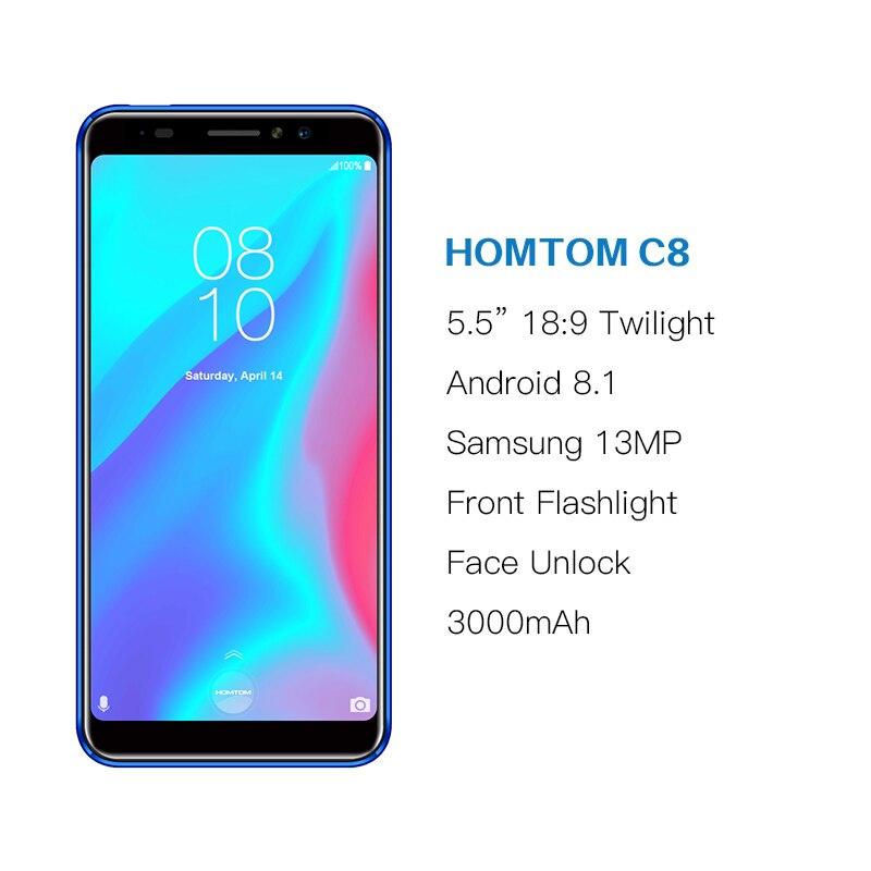 Version globale HOMTOM C8 téléphone portable 5.5 pouces Android 8.1 MT6739 Quad Core 2 GB + 16 GB Smartphone déverrouillage du visage identification d'empreintes digitales 4G FDD - 2