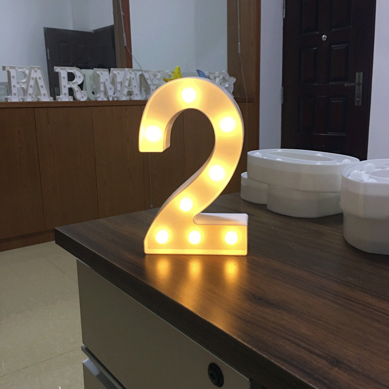 Digital Symbol Sign LED Night Light Vintage Plastic Table Lamp For Wedding Decoration Kids Baby Birthday Party Supplies DIY