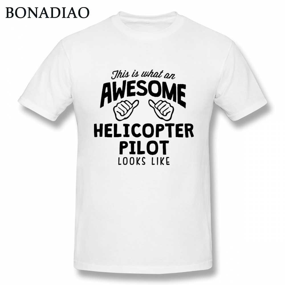 Вертолет пилот футболка человек изображение на заказ Camiseta 100% хлопок футболки хороший Повседневный Топ дизайн с короткими рукавами