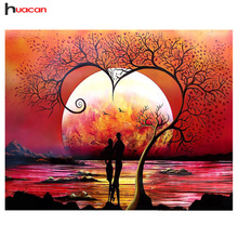 HUACAN Diamond Embroidery Landscape Diy Diamond Painting Sunset Diy Full Round Mosaic Rhinestone Picture Home Decor цена