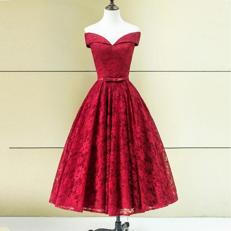 ANTI Elegance Borgoña Robe de Vestidos de Cóctel 2017 Hombro Corto Vestidos de C