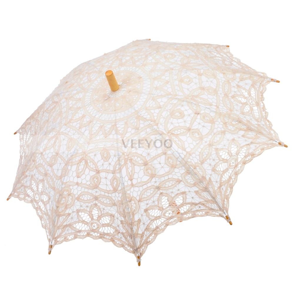 Long wooden craft sticks - Ivory Handmade Vintage Embroidery Battenburg Lace Cotton Sun Parasol Long Stick Umbrella For Wedding Bridal Photo