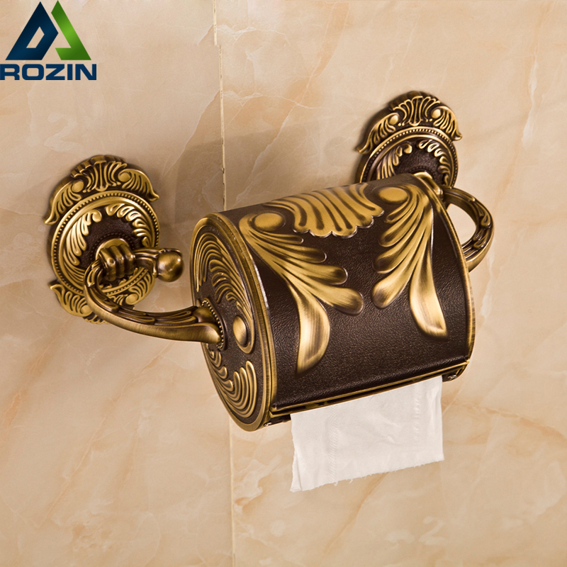 Customized Artistic Toilet Roll Paper Holder Brass Antique Wall Mounted Bathroom Paper Tissue Box Carved Flower Surface bathroom accessory antique brass wall mounted copper toilet paper roll holder free shipping aba037