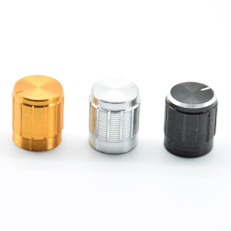 5Pcs Aluminum Potentiometer Knob Cap Inner  Volume Control Rotary Switch 15*17mm 15x17mm  Ship Black Gold Silver 6mm Holes