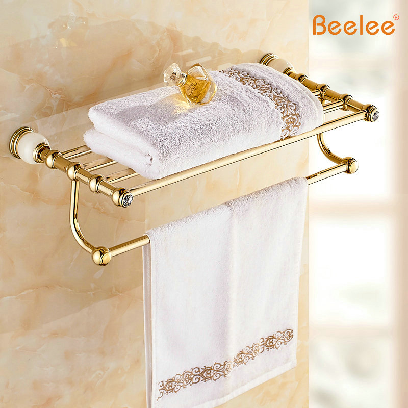 Beelee BA8303G High Quality European Style Solid Brass Luxury Gold Crystal Bathroom Towel Holder Bathroom Towel Rack Bathroom 2016 high quality brass and crystal bathroom towel rack gold towel holder hotel home bathroom storage rack rail shelf