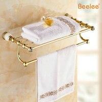 Beelee BA8303G High Quality European Style Solid Brass Luxury Gold Crystal Bathroom Towel Holder Bathroom Towel Rack Bathroom