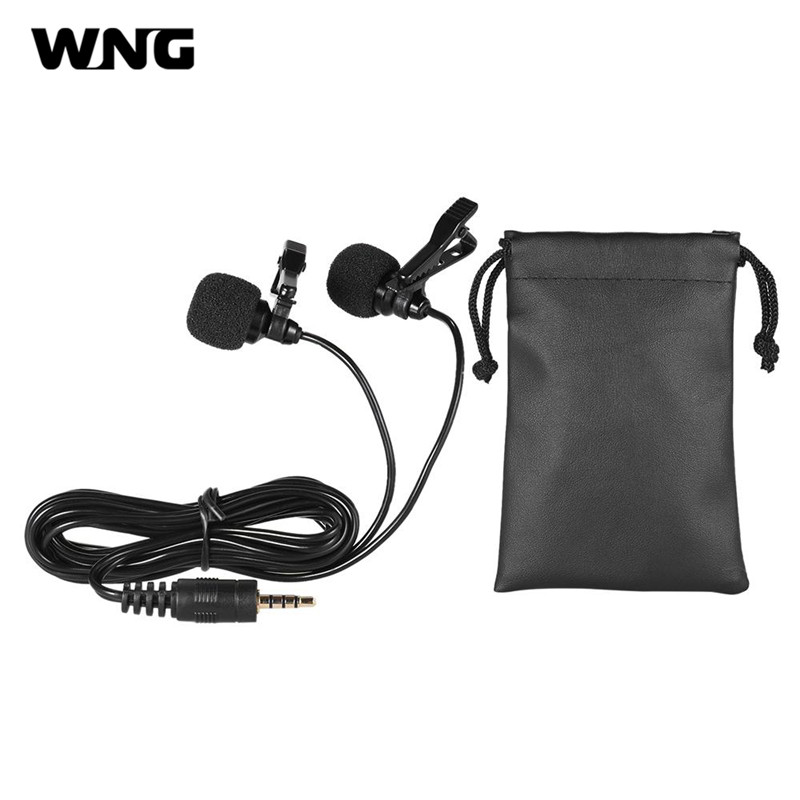 150cm Wired Mini Dual-Headed Omni-Directional Condenser Mic Microphones with Collar Clip for Cellphone Smartphone PC Laptop