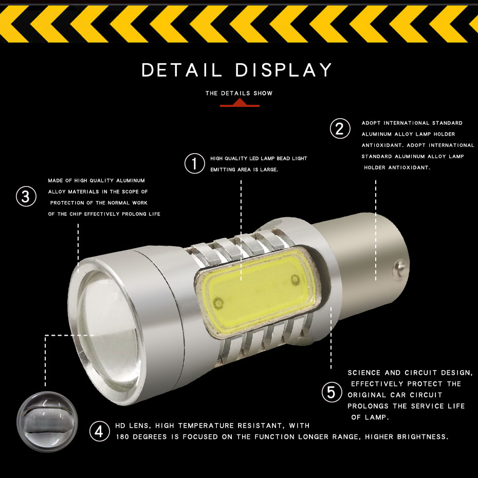 2X 1157 Strobe Bulbs 1156 Ba15S 1157 BAY15D Led COB 12V LED Light Car Turn Brake Strobe Flash Bulb Tail Light Led Lamp (4)