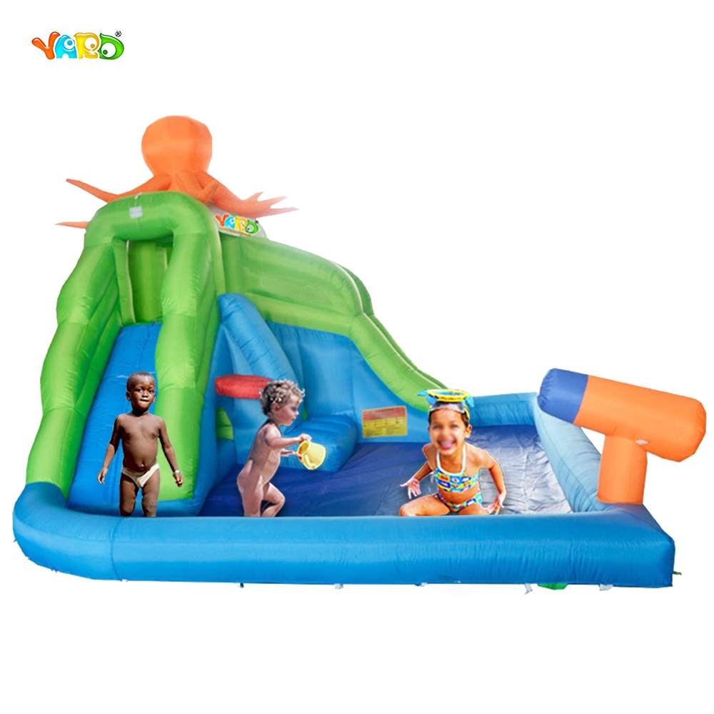 YARD Free Shipping Octopus Inflatable Water Slide Pool For Kids Game Special Offer For ASIA children shark blue inflatable water slide with blower for pool