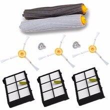 1 conjunto Extrator de Detritos Escova Tangle Livre + 3 filtro Hepa + 3 escova lateral para irobot roomba 800 900 series 870 880 980
