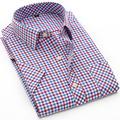 Мужчины Рубашка С Коротким Рукавом Плед Рубашки Мужские Camisa Социальный Slim Fit Мужская Рубашки Платья Сорочка Homme