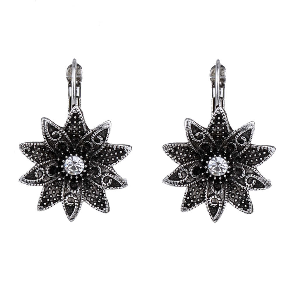 MYTHIC AGE Tibetan Silver Color Carved Flower Vintage Ethnic Drop Dangle Earrings Retail Jewelry Jewellery Gift For Women Girls
