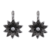 Tibetan Silver Carved Flower Vintage Ethnic Drop Dangle Earrings Retail Jewelry Jewellery Gift For Women Girls vintage jewelry bohemian tibetan silver chain necklaces gypsy ethnic carved metal flower pendants necklaces for women