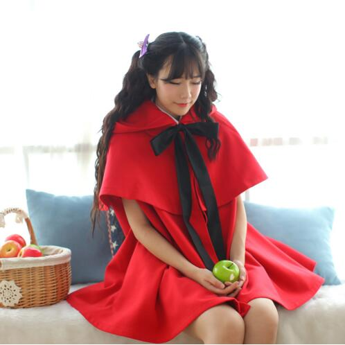 High Quality   Red/Black Sweet Two Piece Hooded Poncho Jacket Free Shipping цены онлайн