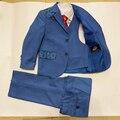Мальчики блейзер для свадеб Детей 3 шт. Смокинг костюмы Детские осенние комплектов Одежды Детская одежда Рождения Рождественский Подарок