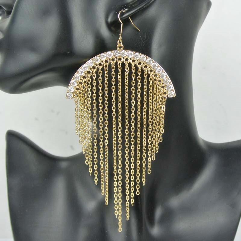 Exaggerated Full Of Bright Zirconia Stone Ear Hook Drop Tassels Earrings For Women Fashi ...