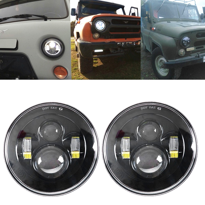 For Nissan Patrol Y60 Lada Niva 4x4 Black H4 LED Angel Halo Headlamp Headlight for Car