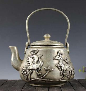 China collection archaize white copper deer crane peony teapot craft statue