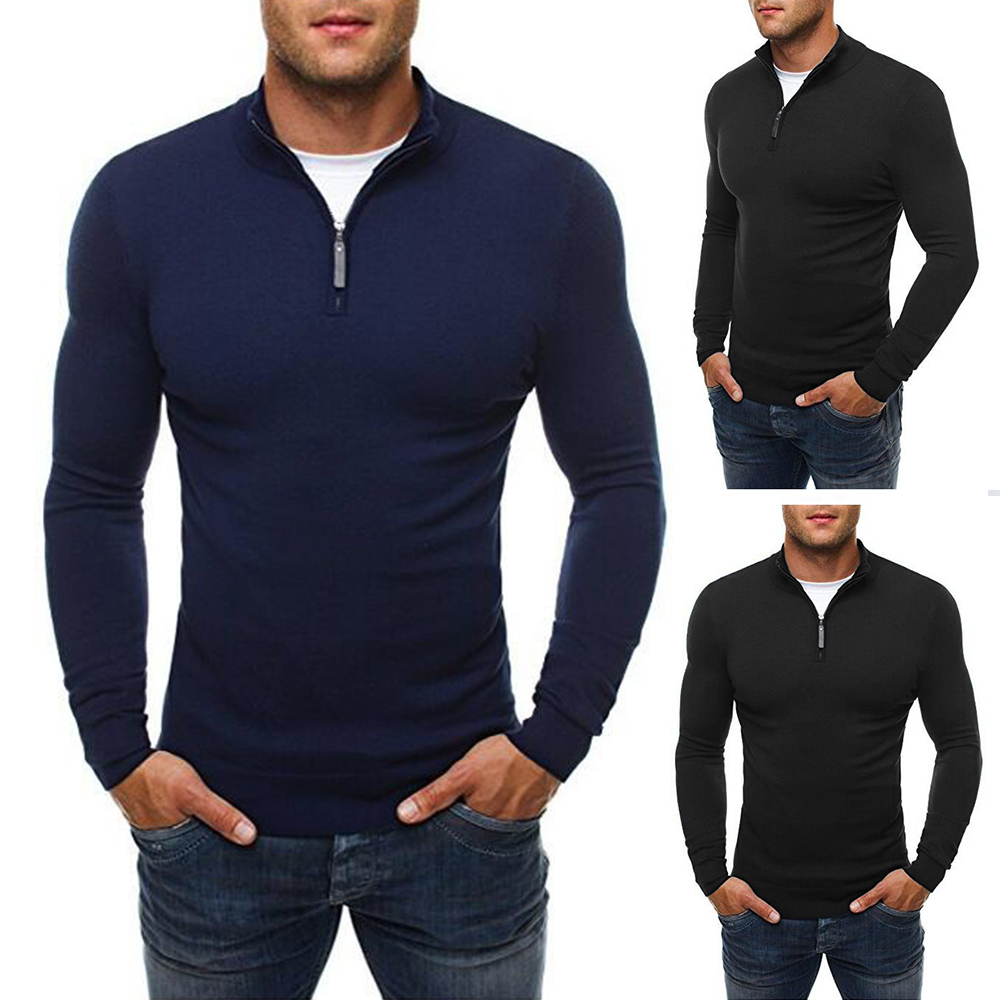 OA Men's Slim Fit Zip Neck Polo Sweater Casual Long Sleeve Sweater And Pullover