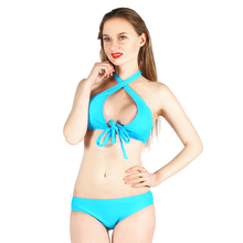 Купить с кэшбэком Bikini 2018 Sexy Swimsuit Women Push Up Bikini Set Halter Bandage Swimwear bikini low waist thong bikini bathing suit beach wear