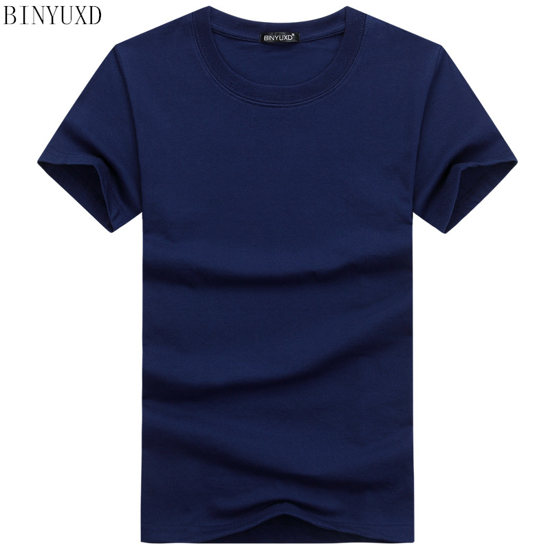 BINYUXDHot Sale High Quality Fashion T Shirt Large Size Men T-Shirt Short Sleeve Solid Casual Cotton Tee Shirt  Summer Clothing