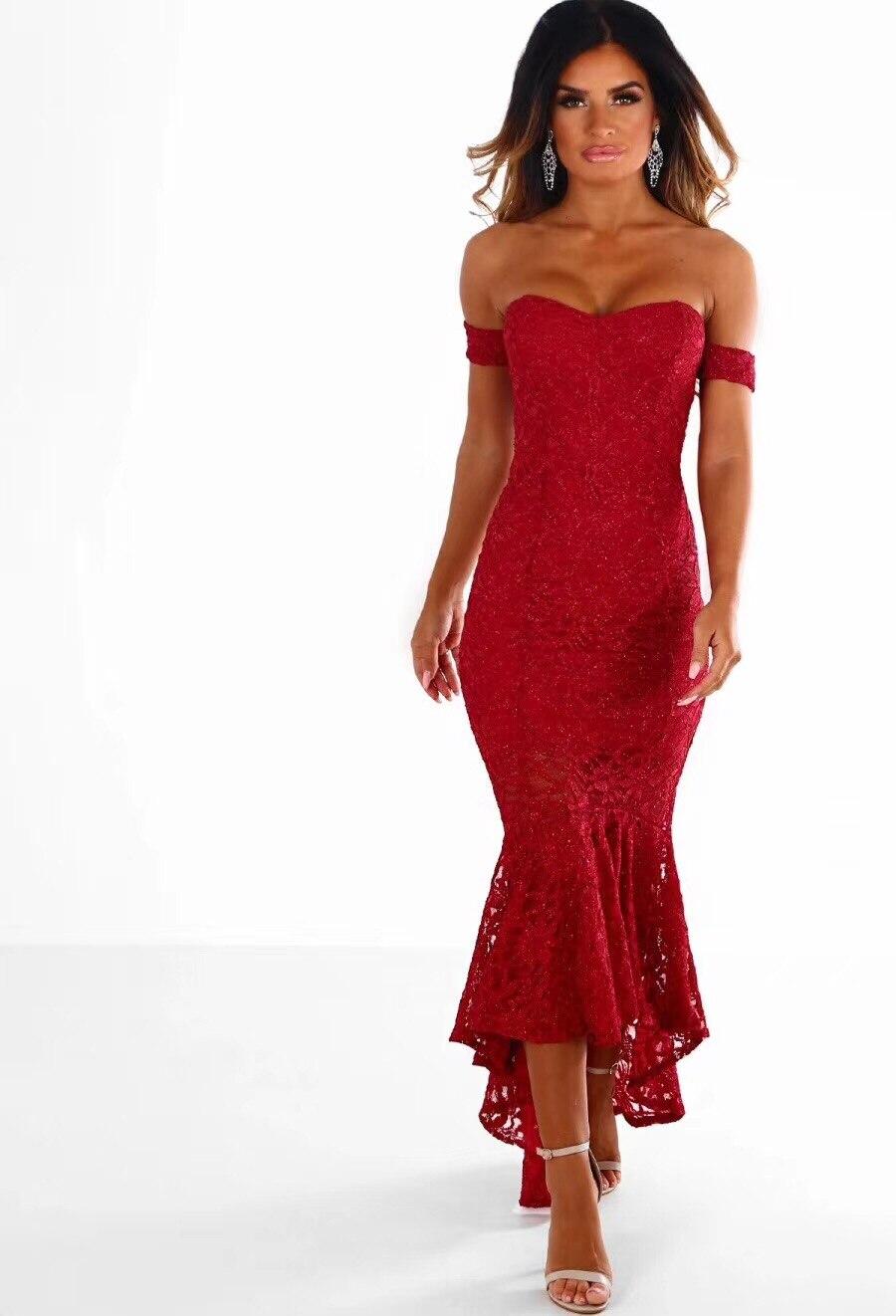 Épaule Off Beige 2018 rouge Robes Robe Dentelle Femmes Tricoté 3 Couleurs Bandage Sexy noir Élastique Parti 8qOngxptI